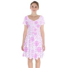 Peony Asia Spring Flowers Natural Short Sleeve Bardot Dress