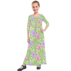 Lily Flowers Green Plant Natural Kids  Quarter Sleeve Maxi Dress