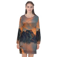 Horizon Sunset Evening Sunrise Long Sleeve Chiffon Shift Dress