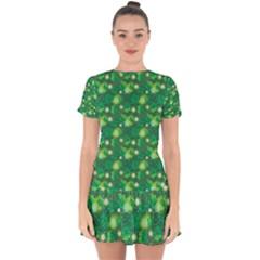4 Leaf Clover Star Glitter Seamless Drop Hem Mini Chiffon Dress