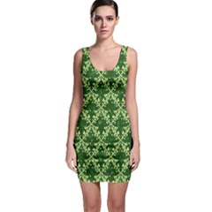White Flowers Green Damask Bodycon Dress by Pakrebo