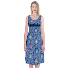 Floral Design Asia Seamless Pattern Midi Sleeveless Dress