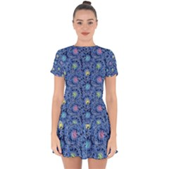 Floral Design Asia Seamless Pattern Drop Hem Mini Chiffon Dress by Pakrebo