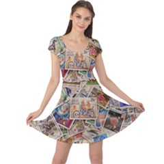 Wallpaper Background Stamps Cap Sleeve Dress
