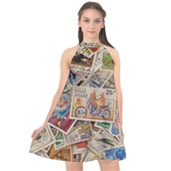 Wallpaper Background Stamps Halter Neckline Chiffon Dress