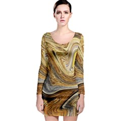 Abstract Acrylic Art Artwork Long Sleeve Bodycon Dress
