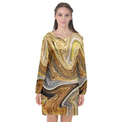 Abstract Acrylic Art Artwork Long Sleeve Chiffon Shift Dress