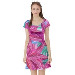 Leaves Tropical Reason Stamping Short Sleeve Skater Dress