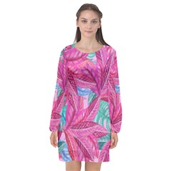 Leaves Tropical Reason Stamping Long Sleeve Chiffon Shift Dress