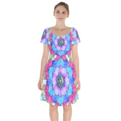 Lotus Flower Bird Metatron s Cube Short Sleeve Bardot Dress by Pakrebo
