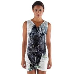 Panther Wrap Front Bodycon Dress by kot737