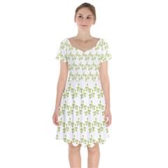 Fancy Floral Pattern Short Sleeve Bardot Dress by tarastyle