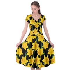 Yellow Daffodils Pattern Cap Sleeve Wrap Front Dress