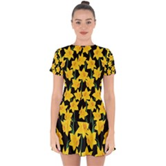 Yellow Daffodils Pattern Drop Hem Mini Chiffon Dress by Valentinaart