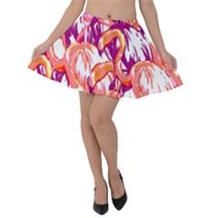 Flamingos Velvet Skater Skirt by StarvingArtisan