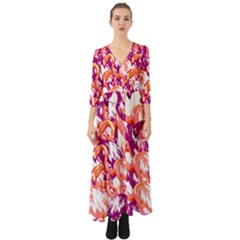 Flamingos Button Up Boho Maxi Dress by StarvingArtisan