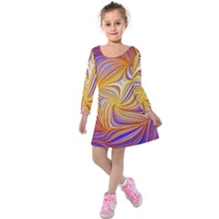 Electric Field Art Lii Kids  Long Sleeve Velvet Dress by okhismakingart