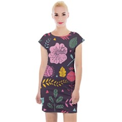 Fancy Floral Pattern Cap Sleeve Bodycon Dress by tarastyle