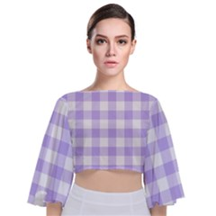 Lavender Gingham Tie Back Butterfly Sleeve Chiffon Top by retrotoomoderndesigns