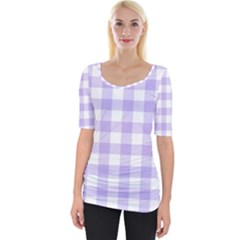 Lavender Gingham Wide Neckline Tee by retrotoomoderndesigns