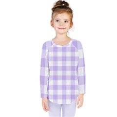 Lavender Gingham Kids  Long Sleeve Tee by retrotoomoderndesigns