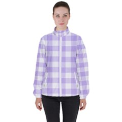 Lavender Gingham Women s High Neck Windbreaker by retrotoomoderndesigns