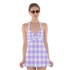 Lavender Gingham Halter Dress Swimsuit  by retrotoomoderndesigns
