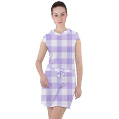 Lavender Gingham Drawstring Hooded Dress by retrotoomoderndesigns