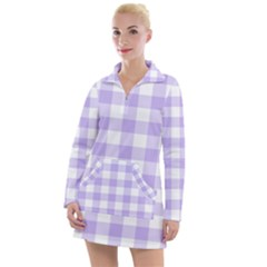Lavender Gingham Women s Hoodie Dress by retrotoomoderndesigns