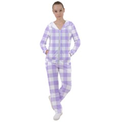 Lavender Gingham Women s Tracksuit by retrotoomoderndesigns
