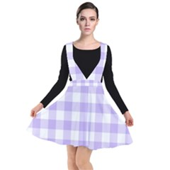 Lavender Gingham Plunge Pinafore Dress by retrotoomoderndesigns