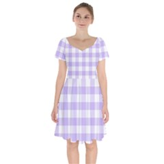 Lavender Gingham Short Sleeve Bardot Dress
