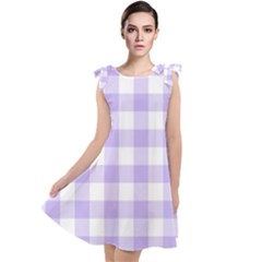 Lavender Gingham Tie Up Tunic Dress by retrotoomoderndesigns