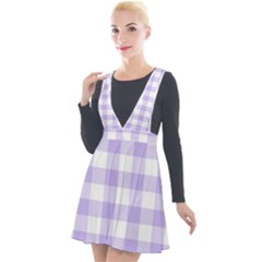 Lavender Gingham Plunge Pinafore Velour Dress by retrotoomoderndesigns