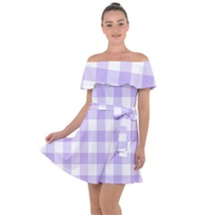 Lavender Gingham Off Shoulder Velour Dress by retrotoomoderndesigns