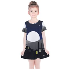 City At Night Kids  Simple Cotton Dress