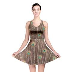 Peacock Feather Bird Exhibition Reversible Skater Dress