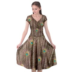 Peacock Feather Bird Exhibition Cap Sleeve Wrap Front Dress