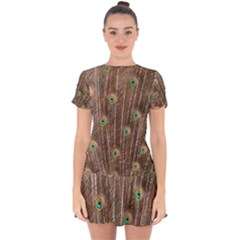 Peacock Feather Bird Exhibition Drop Hem Mini Chiffon Dress