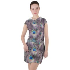 Peacock Bird Pattern Drawstring Hooded Dress by Pakrebo