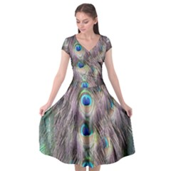 Peacock Bird Pattern Cap Sleeve Wrap Front Dress