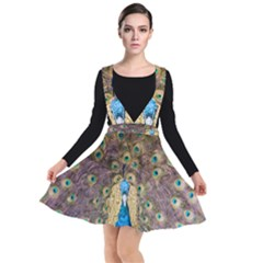 Peacock Feather Peacock Feather Plunge Pinafore Dress by Pakrebo