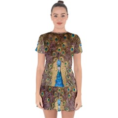 Peacock Feather Peacock Feather Drop Hem Mini Chiffon Dress