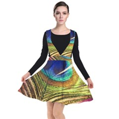 Peacock Feather Colorful Peacock Plunge Pinafore Dress by Pakrebo