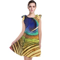 Peacock Feather Colorful Peacock Tie Up Tunic Dress by Pakrebo