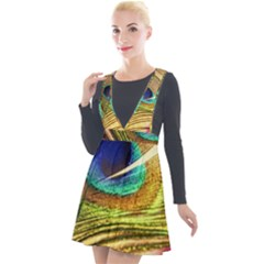 Peacock Feather Colorful Peacock Plunge Pinafore Velour Dress by Pakrebo