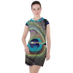 Peacock Feather Close Up Macro Drawstring Hooded Dress by Pakrebo