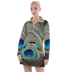 Peacock Feather Close Up Macro Women s Hoodie Dress by Pakrebo