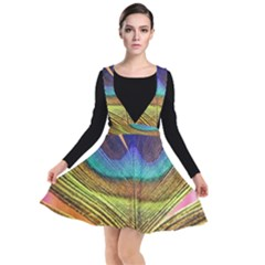 Peacock Feather Bird Colorful Plunge Pinafore Dress by Pakrebo