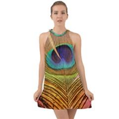 Peacock Feather Bird Colorful Halter Tie Back Chiffon Dress